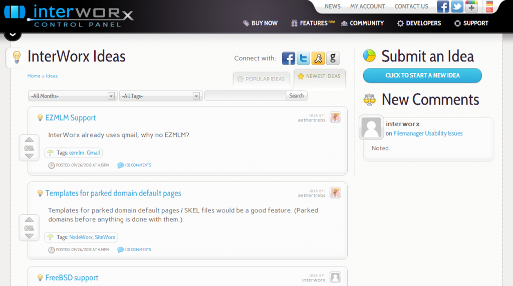 InterWorx Ideas Page