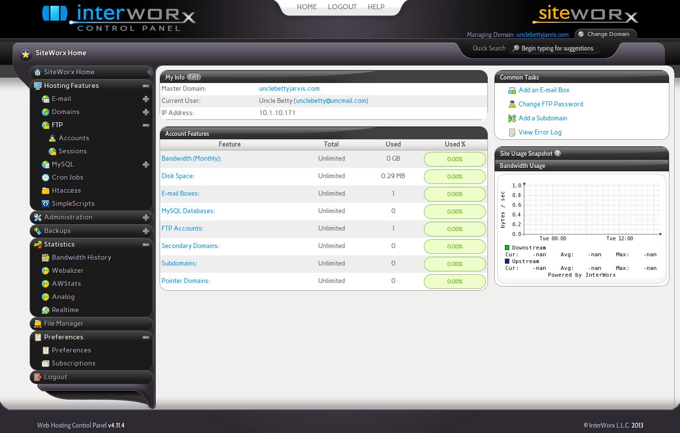 Screenshot of Interworx control panel