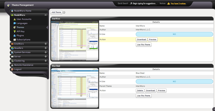 InterWorx Theme Management